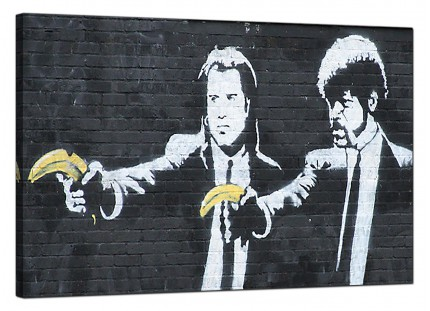 Large Banksy Pulp Fiction Modern Canvas Art - 91cm - 179L