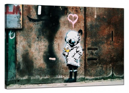 Large Banksy Girl and a Bird Modern Canvas Art - 91cm - 184L