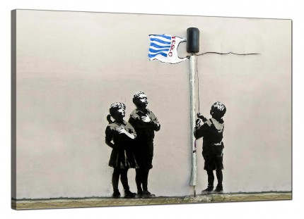 Large Banksy Tesco Generation - Very Little Helps Canvas Art - 91cm - 169L