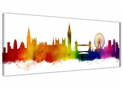 London City Skyline Panoramic Canvas Wall Art Print - Multi Coloured - 1p484s - 94cm