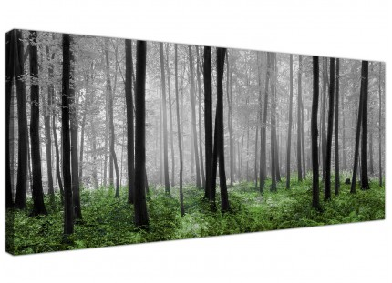 Large Black White Green Grey Forest Woodland Trees Canvas Wallart - 120cm - 1239
