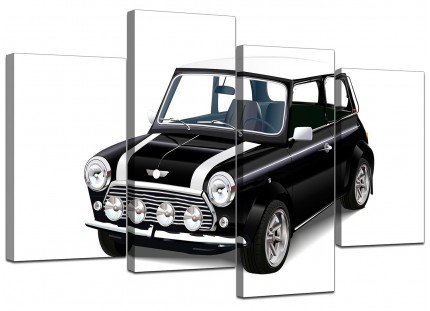Black White Mini Cooper Classic Car Canvas - Multi Set of 4 - 130cm - 4095