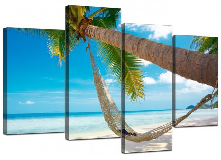 Tropical Blue Palm Tree Scene Beach Canvas - Multi Set of 4 - 130cm - 4039