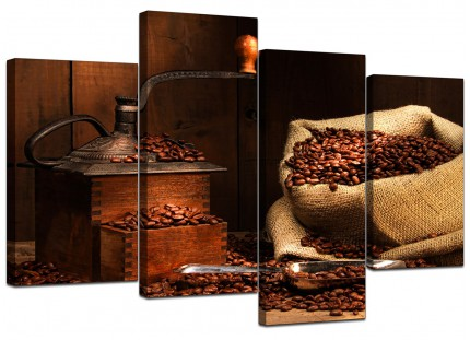 Brown Coffee Beans Grinder Kitchen Canvas - Multi 4 Panel - 130cm - 4062