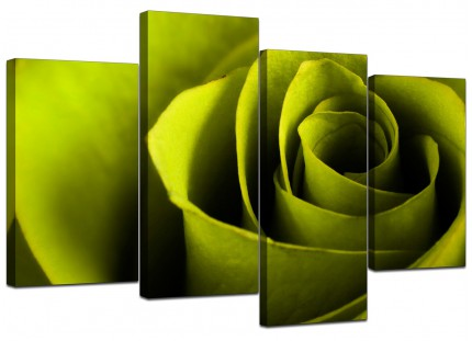 Lime Green Rose Petal Flower Floral Canvas - Multi 4 Part - 130cm - 4110