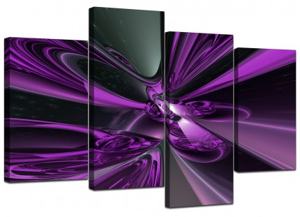 Purple and Black Cyclone Abstract Canvas - Multi Set of 4 - 130cm - 4018
