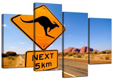 Ayres Rock Australia Outback Landscape Canvas - Multi Set of 4 - 130cm - 4083