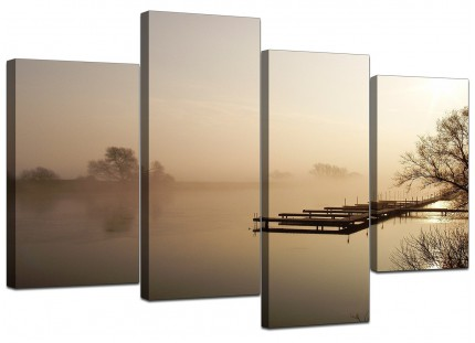 Sepia Brown Sunset Jetty Sunset View Landscape Canvas - Set of 4 - 130cm - 4117