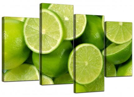 Lime Green Fresh Fruit Kitchen Canvas - Multi 4 Part - 130cm - 4113