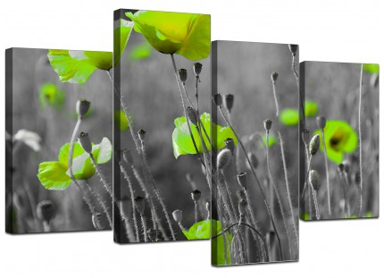 Lime Green Poppies Flower Grey Black Floral Canvas - 4 Panel Set - 130cm - 4138