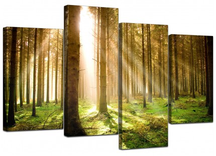 Green Forest Woodland Sunlight Trees Canvas - Multi 4 Panel - 130cm - 4042