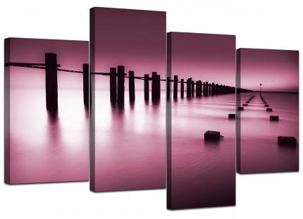 Plum Coloured Beach Scene Landscape Canvas - Multi 4 Piece - 130cm - 4087