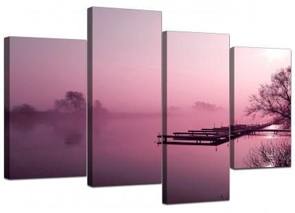 Plum Coloured Sunset Jetty Lake View Landscape Canvas - 4 Piece - 130cm - 4120