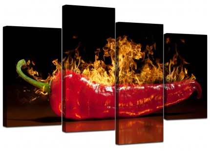 Red Hot Chilli Pepper Flaming Black Kitchen Canvas - 4 Part Set - 130cm - 4132