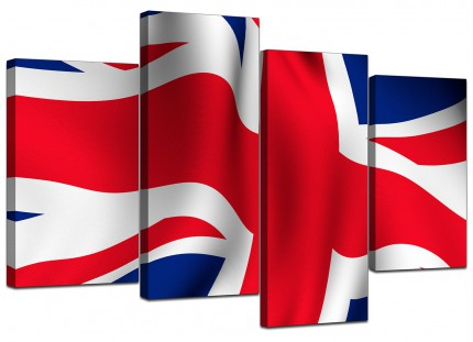 Red White Blue Union Jack Flag Abstract Canvas - Split 4 Piece - 130cm - 4008