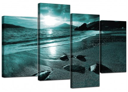 Teal Coloured Sunset Beach Scene Landscape Canvas - Set of 4 - 130cm - 4079