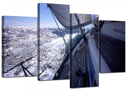 Sailing Yacht Boat Ocean Waves Landscape Canvas - Split Set of 4 - 130cm - 4105