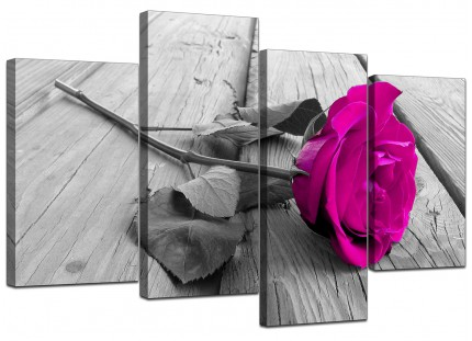 Pink Rose Grey Black White Flower Floral Canvas - Multi Set of 4 - 130cm - 4036