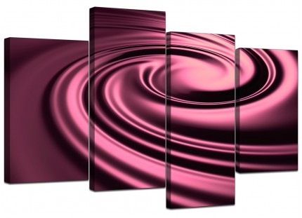 Plum Coloured Swirl Design Abstract Canvas - Split Set of 4 - 130cm - 4059