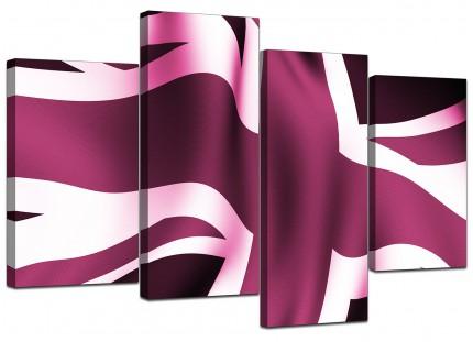 Plum Purple Union Jack Flag Abstract Canvas - Split 4 Part - 130cm - 4009