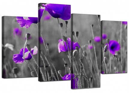 Purple Poppy Grey Black White Flower Floral Canvas - Set of 4 - 130cm - 4136
