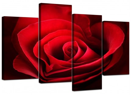 Red Rose Heart Petals Flower Floral Canvas - Split 4 Part - 130cm - 4044