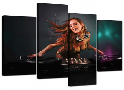 Girl DJ Mixing Decks Clubbing Canvas - Multi 4 Set - 130cm - 4064