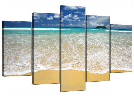 Extra Large Tropical Ocean Sandy Shore Scene Beach Canvas - 5 Set - 160cm - 5043