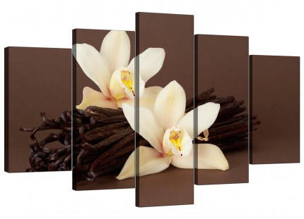 Extra Large Brown and Cream Flower Floral Canvas - 5 Panel - 160cm - 5121