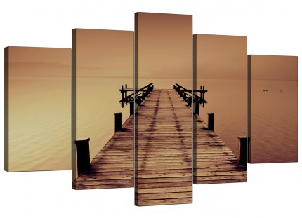 Brown Jetty Lake District Pier Landscape XL Canvas - 5 Set - 160cm - 5045