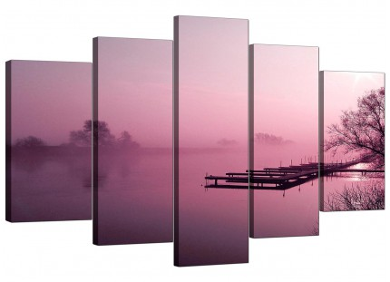 Plum Coloured Sunset Jetty Lake View Landscape XL Canvas - 5 Part - 160cm - 5120