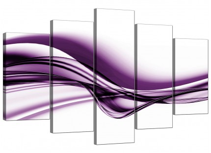Extra Large Purple White Modern Wave Abstract Canvas - 5 Panel - 160cm - 5031