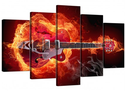Extra Large Flaming Red Electric Guitar Music Canvas - Set of 5 - 160cm - 5065