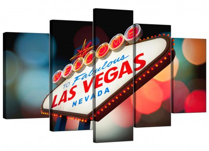 Extra Large Las Vegas Strip Sign Gambling City Canvas - 5 Set - 160cm - 5126