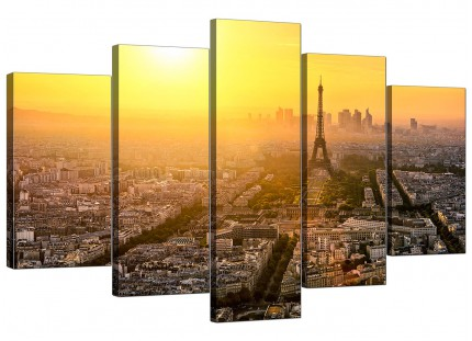 Paris Sunset Skyline Eiffel Tower Yellow City XL Canvas - 5 Set - 160cm - 5153
