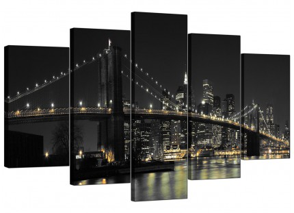 Extra Large Black White NYC Brooklyn Bridge City Canvas - 5 Panel - 160cm - 5075