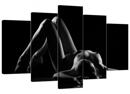 Extra Large Bedroom Black White Woman Nude Erotic Canvas - 5 Part - 160cm - 5082