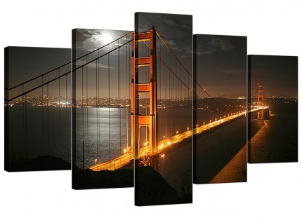 San Francisco Golden Gate Bridge Night City XL Canvas - Set of 5 - 160cm - 5038
