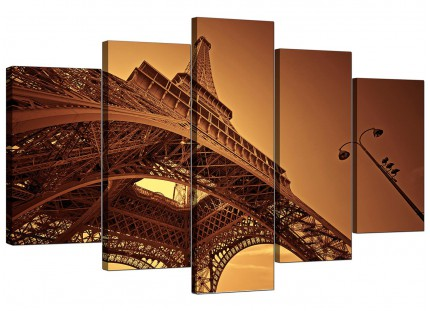 Brown and Cream Eiffel Tower Paris Cityscape XL Canvas - 5 Panel - 160cm - 5013