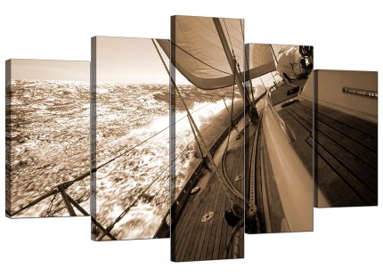 Sepia Brown Yacht Sailing Boat Ocean Landscape XL Canvas - 5 Part - 160cm - 5106