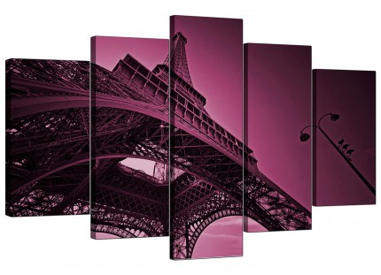 Extra Large Purple Eiffel Tower Scene Paris City Canvas - 5 Part - 160cm - 5015