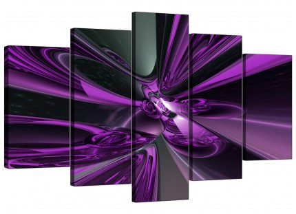 Extra Large Purple and Black Cyclone Abstract Canvas - 5 Piece - 160cm - 5018