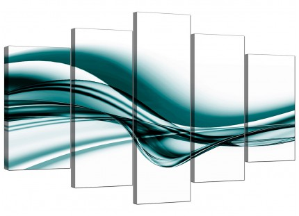 Teal Coloured White Modern Wave Abstract XL Canvas - 5 Set - 160cm - 5033