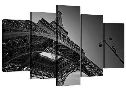 Black White Eiffel Tower Paris Cityscape XL Canvas - Set of 5 - 160cm - 5016