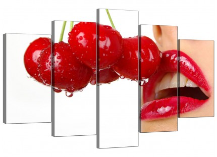 Extra Large Cherry Red Lips on White Canvas - 5 Part - 160cm - 5049