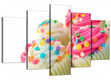 Extra Large Pink White Cupcakes Kitchen Canvas - 5 Piece - 160cm - 5084