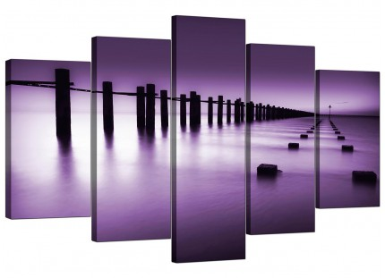 Extra Large Purple White Beach Scene Landscape Canvas - Set of 5 - 160cm - 5086