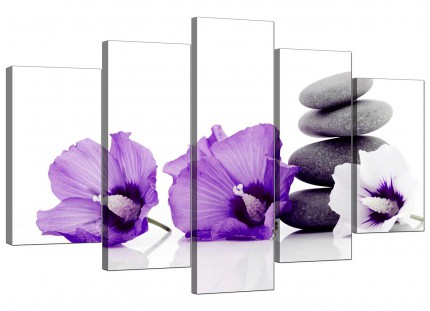 Purple Grey White Flowers Zen Stones Floral XL Canvas - 5 Part - 160cm - 5071