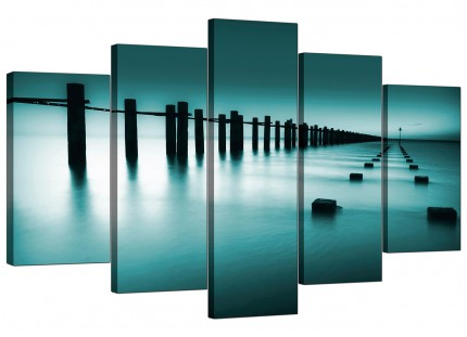 Extra Large Teal Coloured Beach Scene Landscape Canvas - 5 Panel - 160cm - 5089