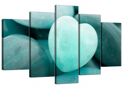 Extra Large Teal Green Blue Love Heart Abstract Canvas - Set of 5 - 160cm - 5080